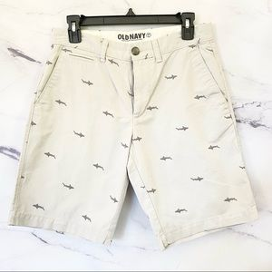 Men's Allover Shark Embroidered Shorts Size 29